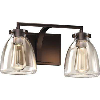 2-Light Indoor Antique Bronze Bath or Vanity Light Bar, Wall Mount, or Wall Sconce w/ Clear Glass Jar Bell Shades
