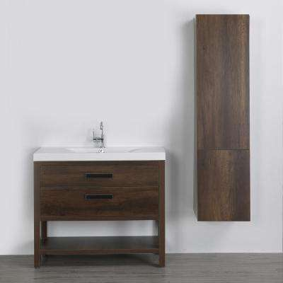 39.4 in. W x 32.4 in. H Bath Vanity in Brown with Resin Vanity Top in White with White Basin