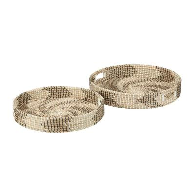 Home Decorators Collection Black, White and Natural Seagrass Decorative Round Tray (Set of 2)