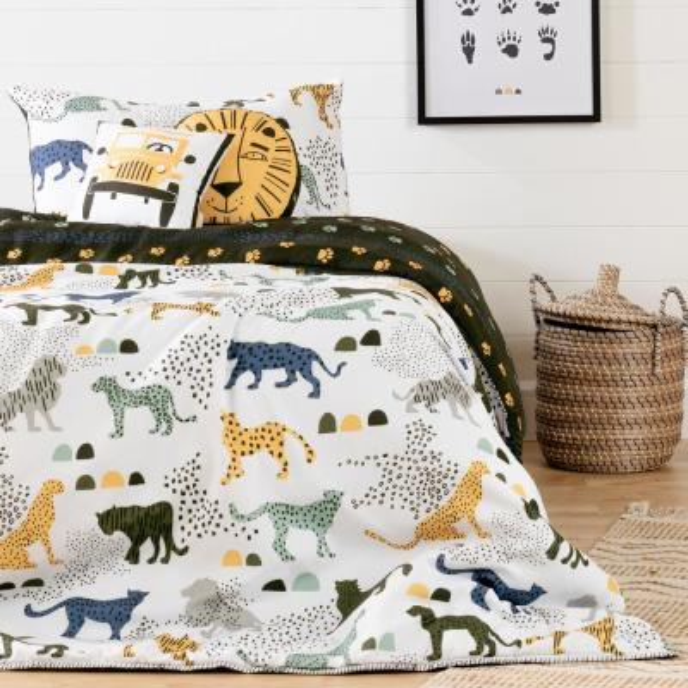 DreamIt 4-Piece Safari Wild Cats White and Green Twin Bedding Set