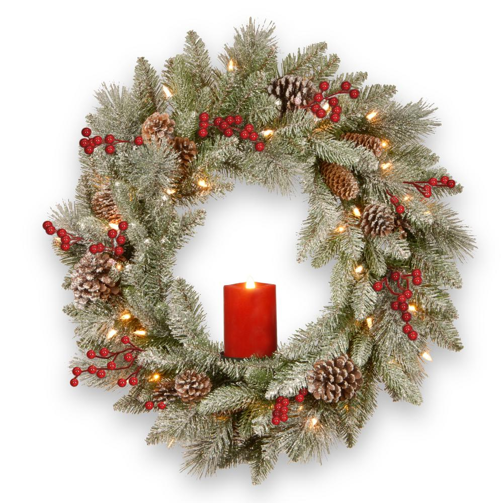 24 in. Feel Real Snowy Bristle Wreath with 50 Battery Operated Red Electronic Candle 9 Red Berries and 15 Cones