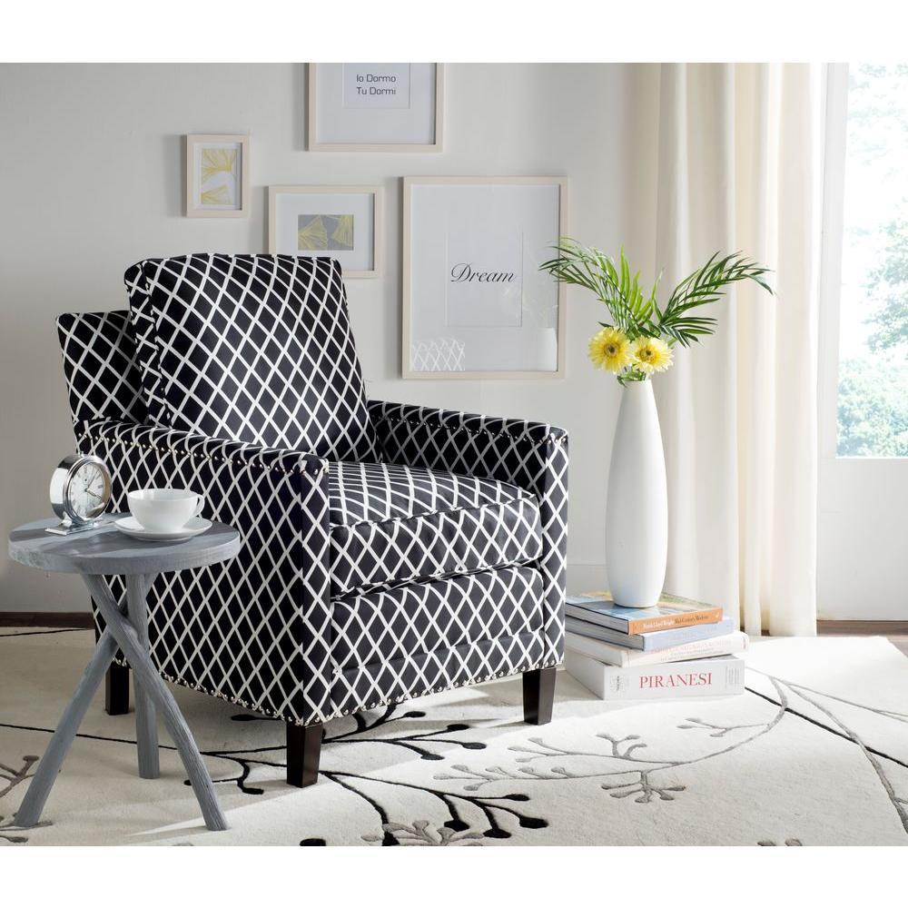 Buckler Black/White/Espresso Polyester Arm Chair