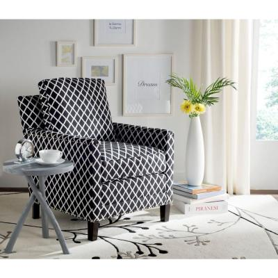 Buckler Black/White/Espresso Polyester Arm Chair