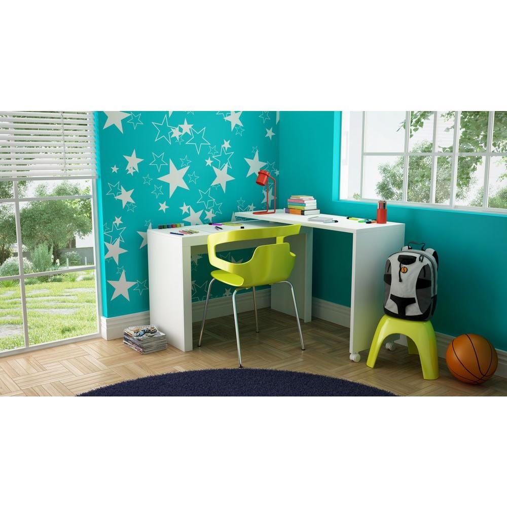 Manhattan Comfort Calabria White Desk 33amc6 The Home Depot
