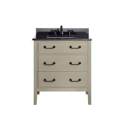 Delano 31 in. W x 22 in. D x 35 in. H Vanity in Taupe Glaze with Granite Vanity Top in Black with White Basin