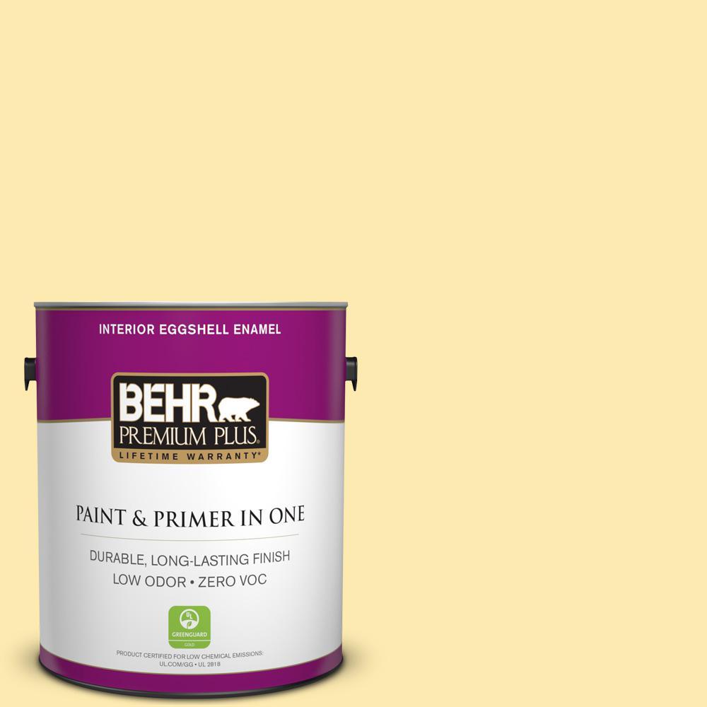 BEHR Premium Plus 1-gal. #370A-2 Pale Daffodil Zero VOC Eggshell Enamel Interior Paint
