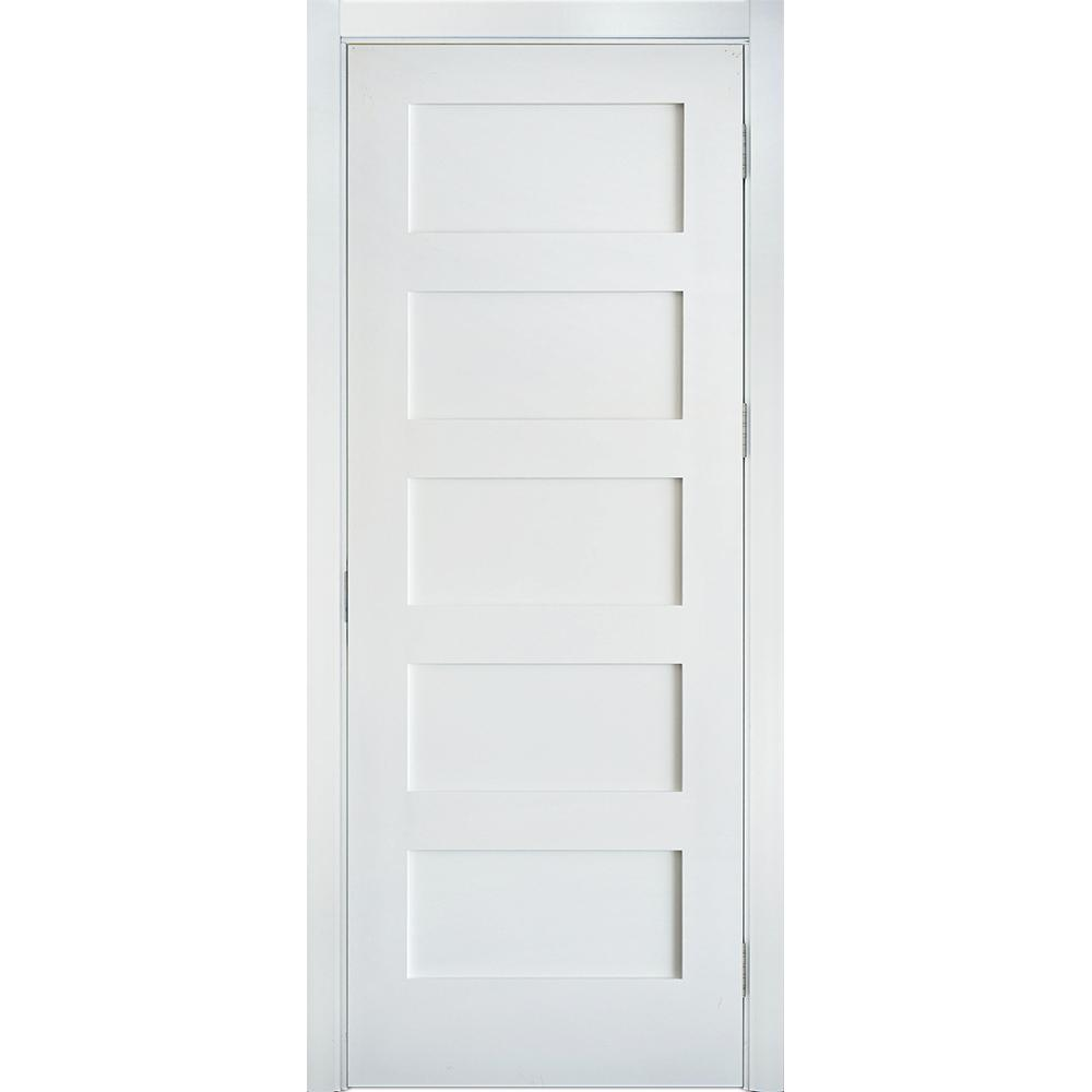 Krosswood Doors 36 In X 96 In Shaker 5 Panel Primed Solid Core Mdf Right Hand Single Prehung