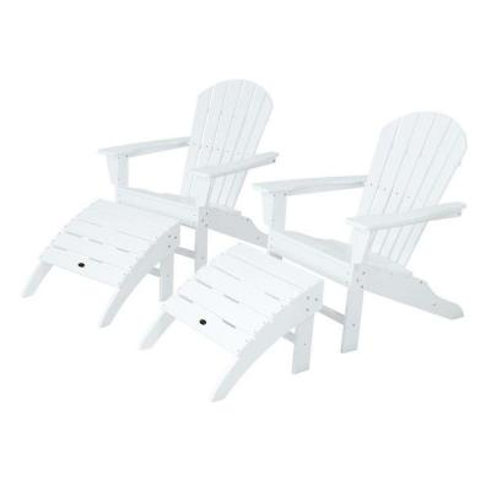 South Beach White Plastic Patio Adirondack Chair (2-Pack)
