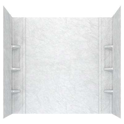 Ovation 32 in. x 60 in. x 59 in. 5-Piece Glue-Up Alcove Bath Wall Set in White Marble