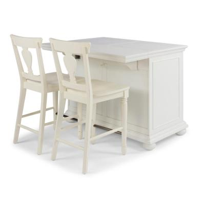 Dover White Quartz Top Kitchen Island with 2 24 in. Stools