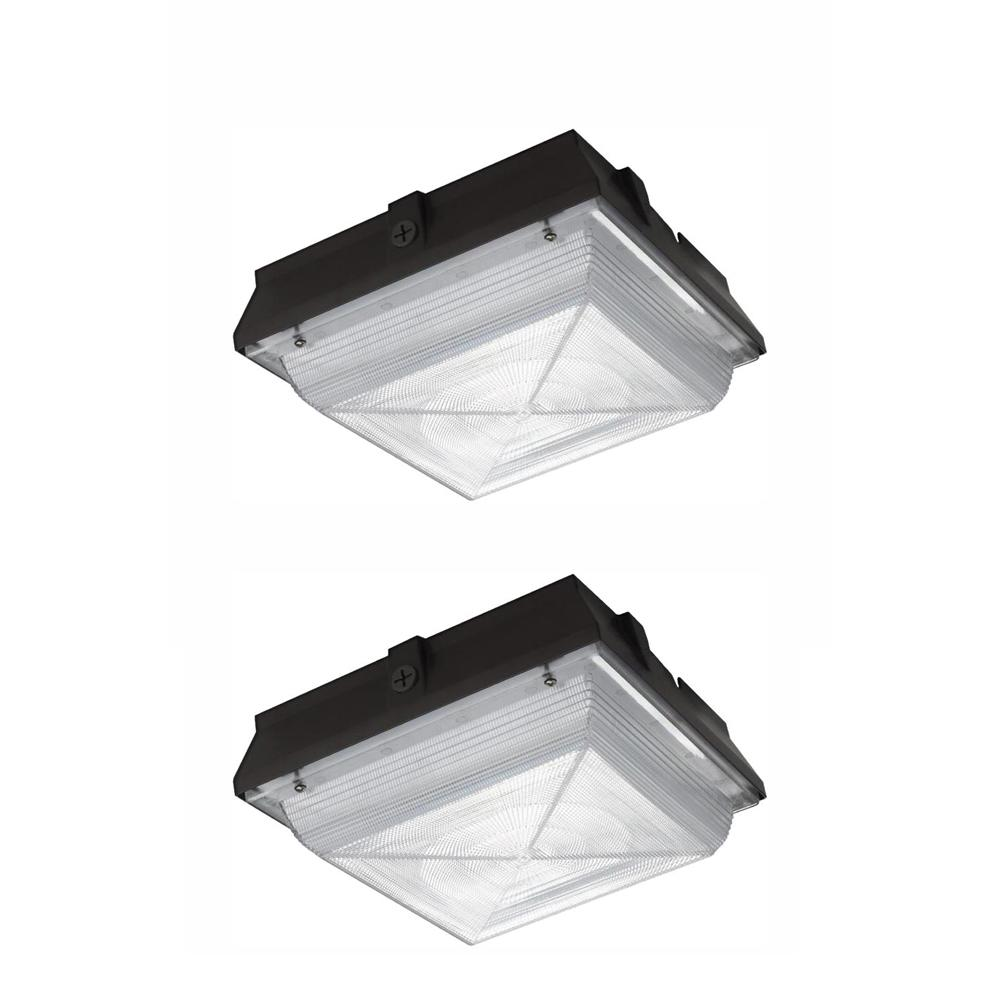 Commercial Electric Large 50 Watt Integrated Led Canopy And Area Light 5200 Lumens Outdoor Security Lighting 2 Pack