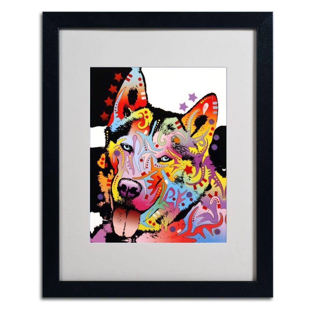 Trademark Fine Art 16 in. x 20 in. Siberian Husky Matted Black Framed Wall Art