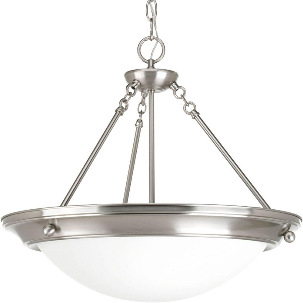 Progress Lighting Eclipse 3 Light Brushed Nickel Foyer Pendant With Satin White Gl