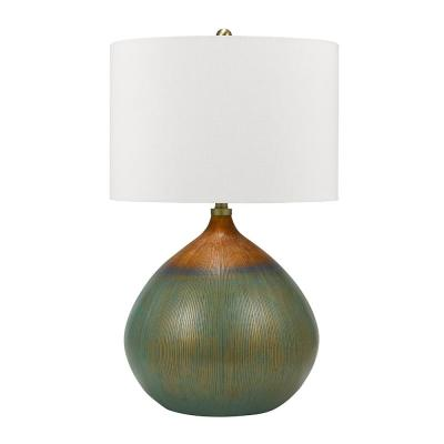 Cresswell 30 in. Multi-Hues with Brass Accents Gourd Table Lamp
