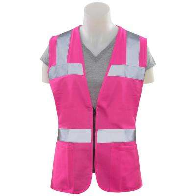 S721 5XL Non-ANSI Women's Fitted Poly Tricot Hi Viz Pink Vest