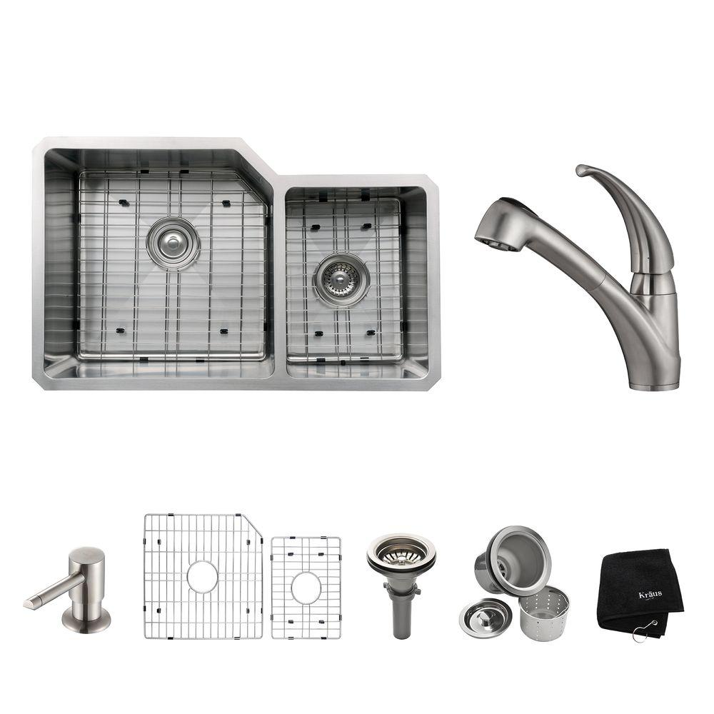 KRAUS All-in-One Undermount Stainless Steel 32 in. Double Basin Kitchen Sink with Faucet and Accessories in Stainless Steel