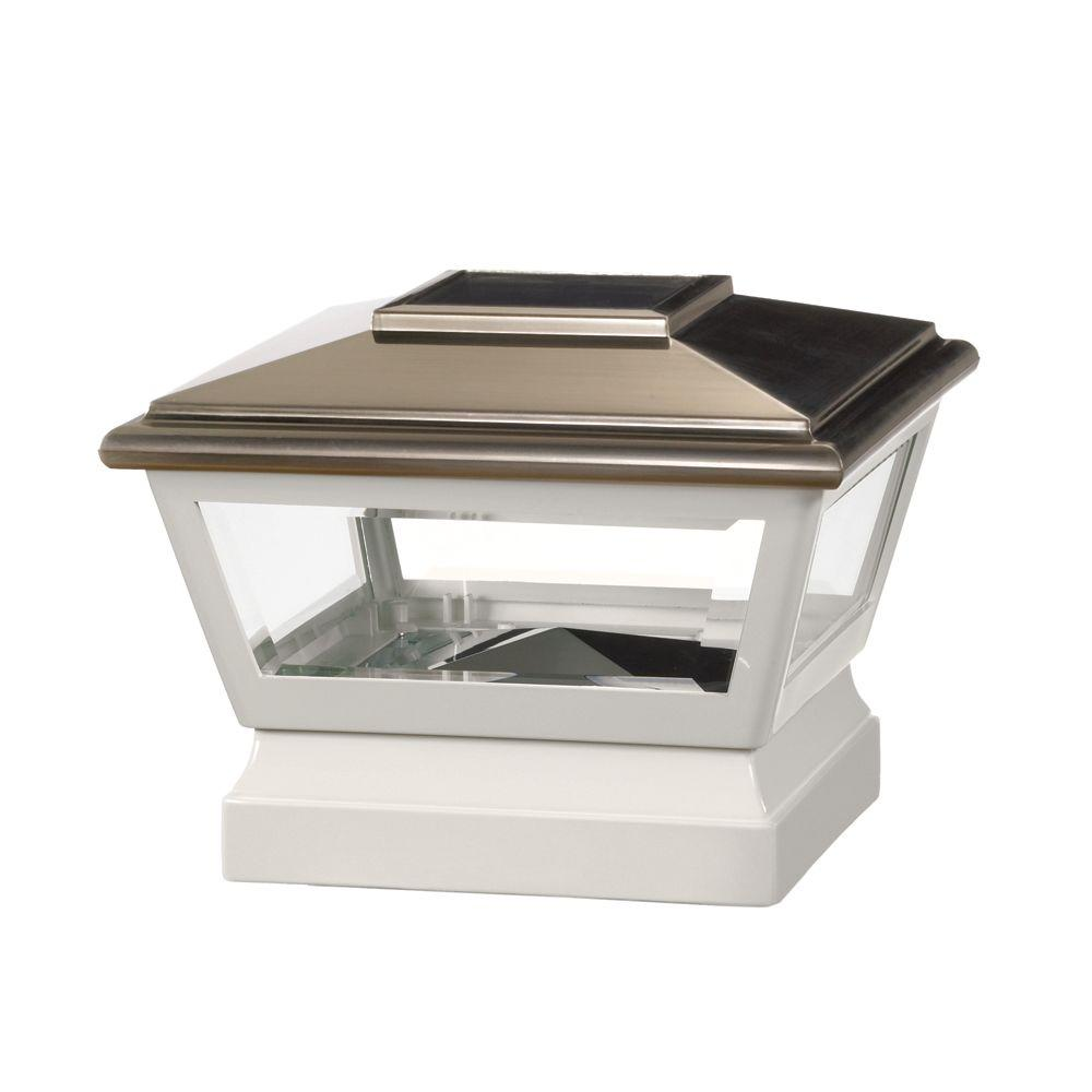 5 in. x 5 in. Vinyl Solar Light Stainless Top Pyramid