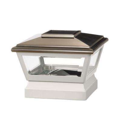 5 in. x 5 in. Vinyl Solar Light Stainless Top Pyramid Post Cap with White Base