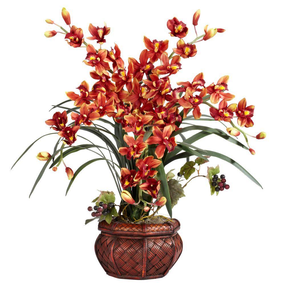 null 30 in. H Burgundy Cymbidium with Decorative Vase Silk Arrangement