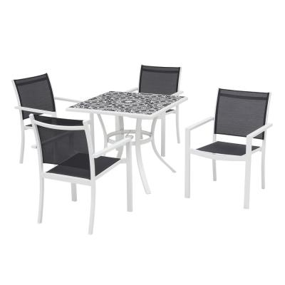 Marivaux Black and White 5-Piece Steel Outdoor Patio Dining Set with Tile Top Table and Black Sling Chairs