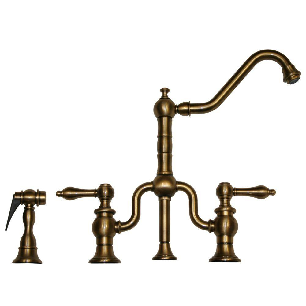 Whitehaus Collection Twisthaus 2 Handle Bridge Kitchen Faucet With Side  Sprayer In Antique Brass