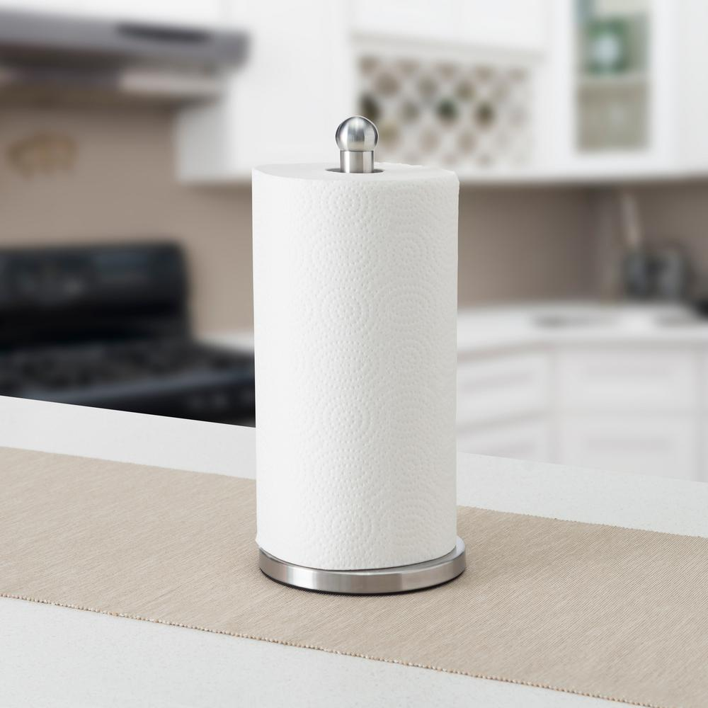 Home Basics Stainless Steel Paper Towel Holder, Stel Never compromising style with function, this stainless steel paper towel holder gracefully displays a single paper towel roll on its weighted base and sturdy metal rod. The brushed stainless steel finish and simple sillhoutte make it a welcome addition to any humble abode. The rounded top easily twists on and off, making it a snap to refill a paper towel roll when needed. From midnight black marble countertops to complete your contemporary style kitchen to distressed mahogany bathroom vanities to accentuate your urban industrial bathroom, this metal paper towel holder is sure to further amplify whatever style you choose to side with. Color: Stel.