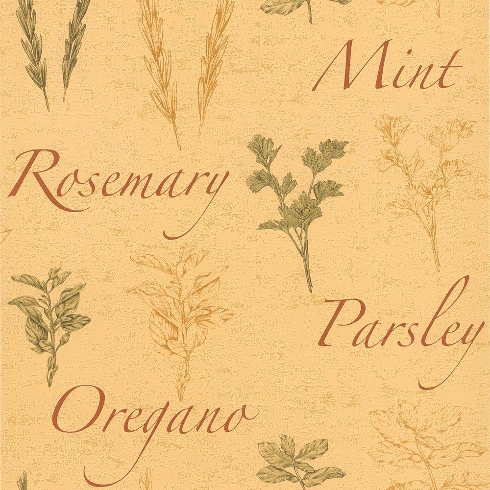Fresh Beige Herbs Wallpaper