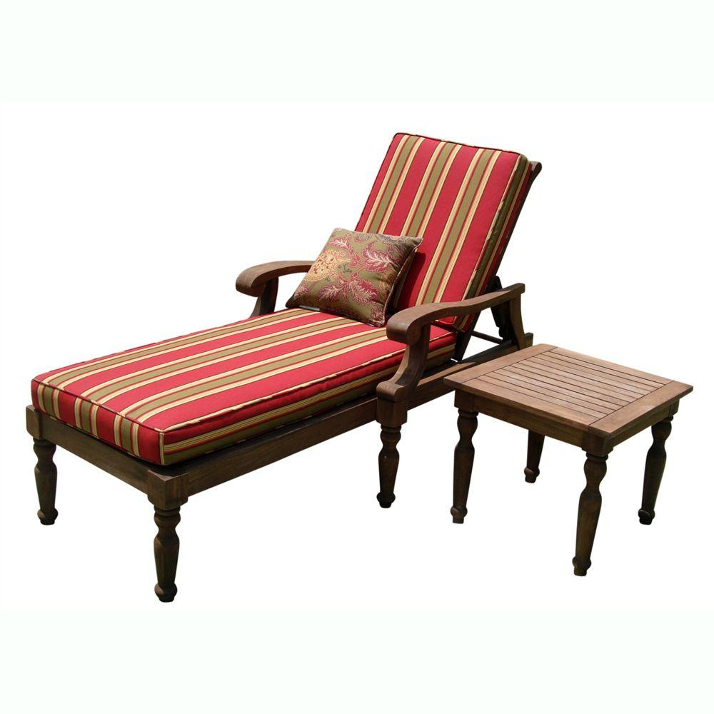 Vifah Roch Eucalyptus Patio Chaise Lounge with Table-DISCONTINUED