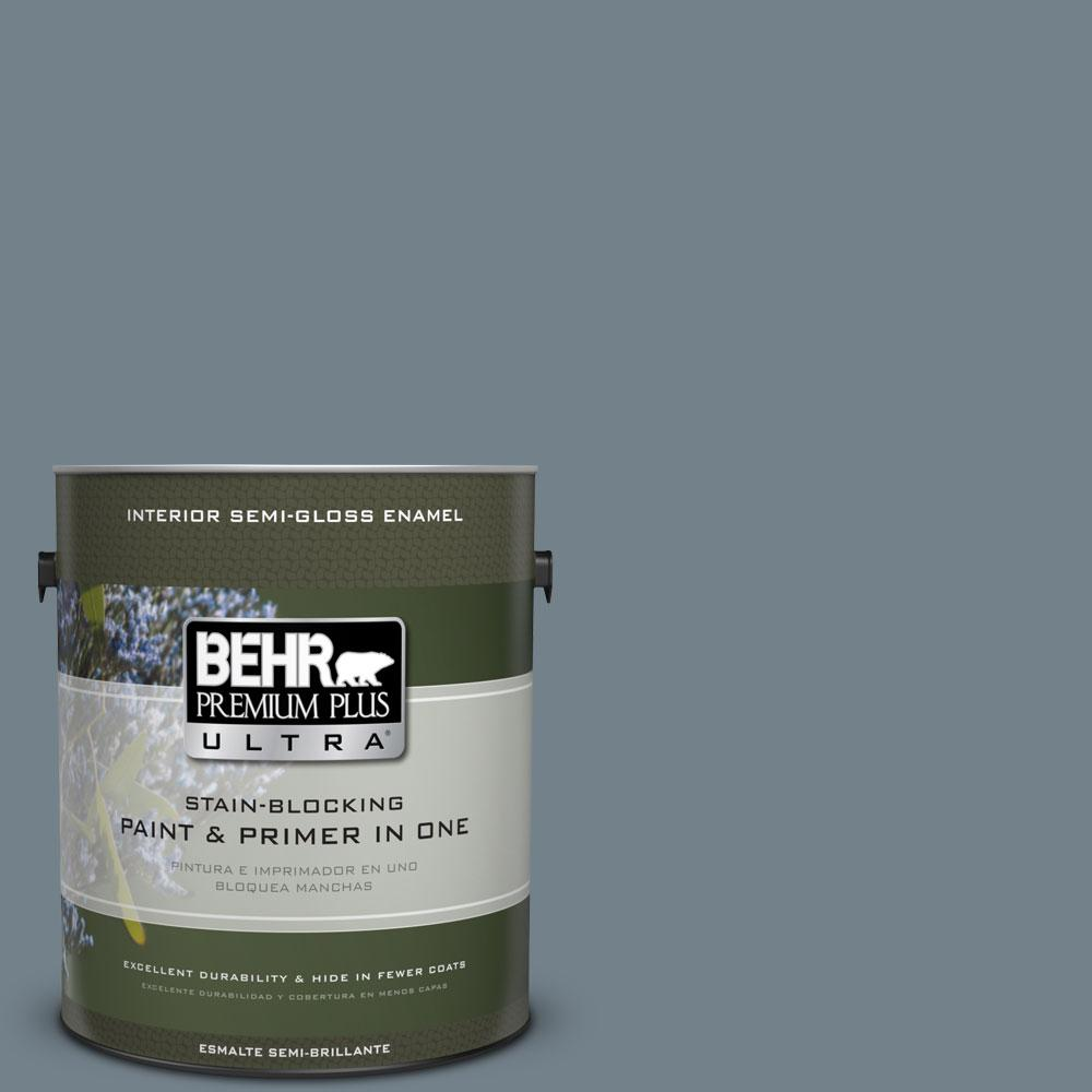 BEHR Premium Plus Ultra 1-gal. #PPU13-4 Atlantic Shoreline Semi-Gloss Enamel Interior Paint