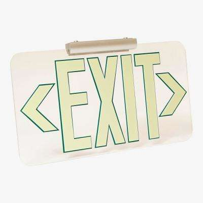 Patented UL Listed Clear Lucite Photoluminescent UL924 Emergency Exit Sign(LED Lighting Compliant) Mounting Kit Included