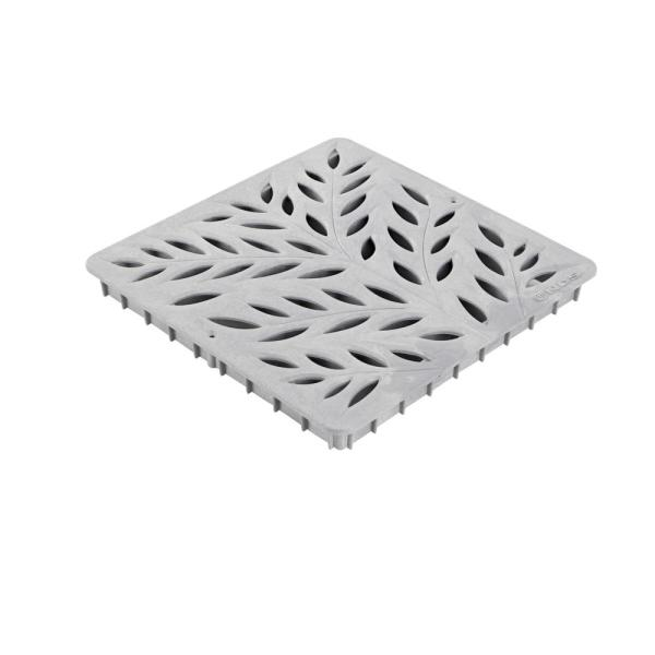 12 in. Plastic Square Drainage Catch Basin Grate with Botanical Design in Gray