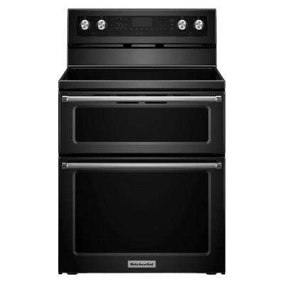 30 in. 6.7 cu. ft. Double Oven Electric Range with Self-Cleaning Convection Oven in Black
