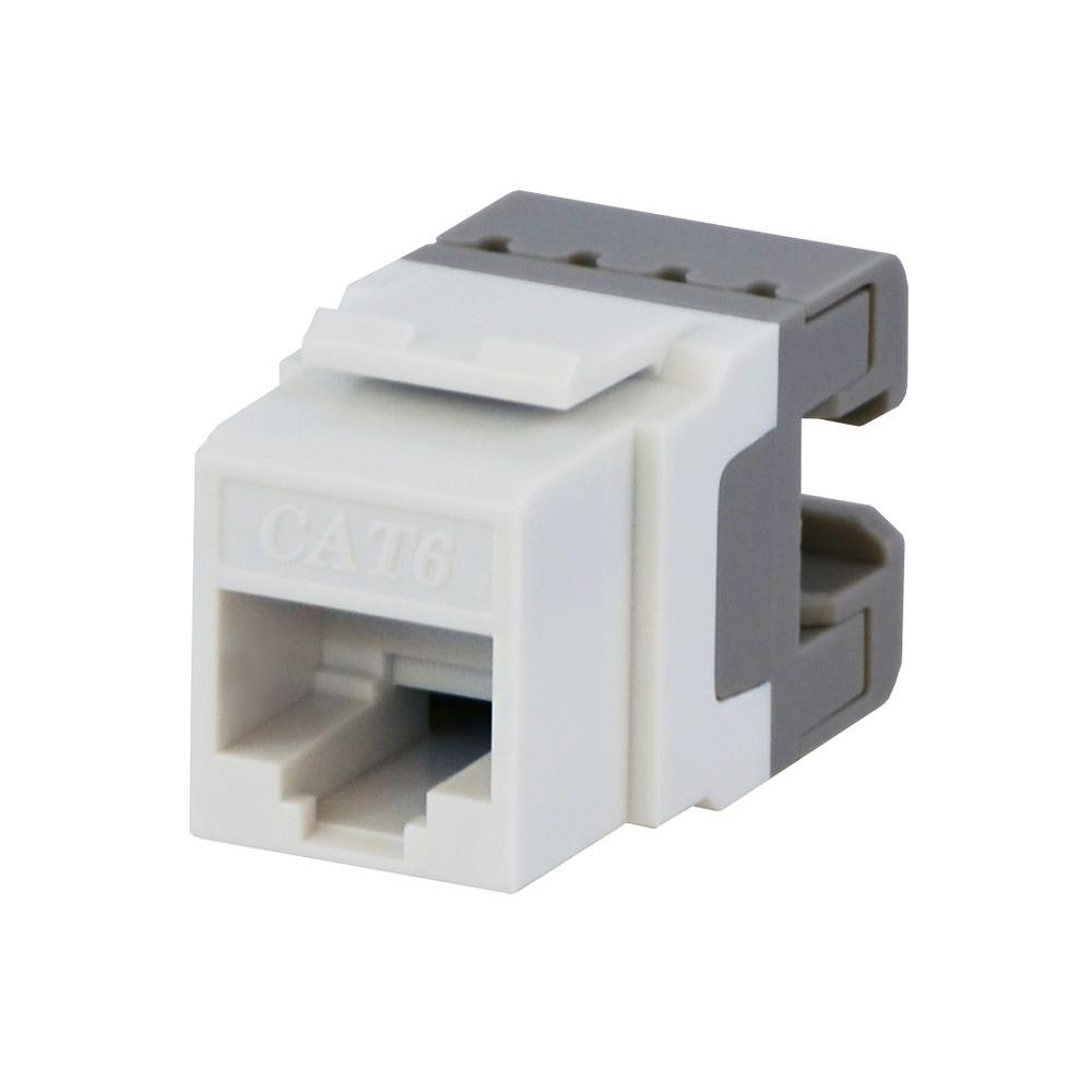 Category 6 Jack - White Commercial Electric's Category 6 jacks are used to terminate Category 6 23AWG network cable. Use these jacks for Ethernet, internet, phone, fax, and modem and computer networks. These keystone jacks snap into any housing or keystone wall plates.