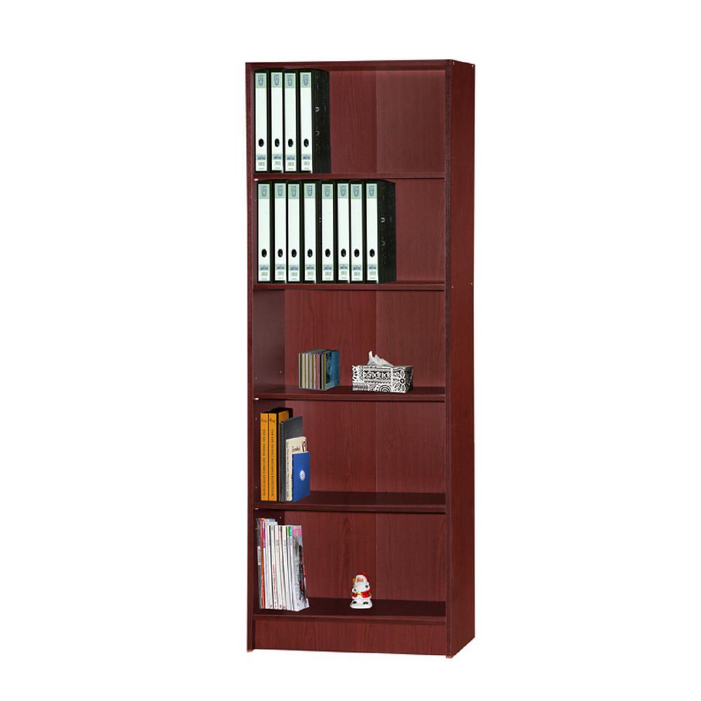 5-Shelf, 72 in. H Mahogany Bookcase