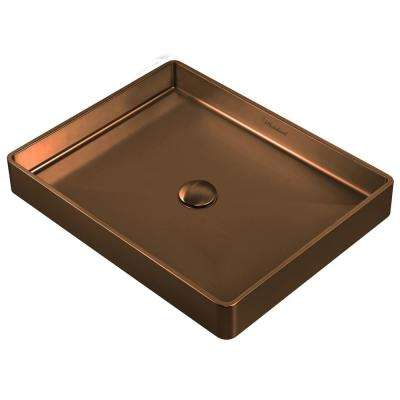 Noah Plus Rectangular Above Mount Vessel Sink in Copper with Matching Center Drain