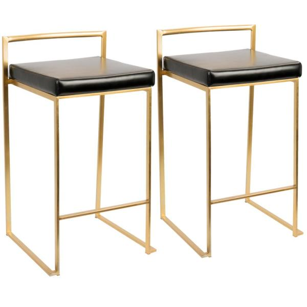 Fuji Gold and Black Counter Stool (Set of 2)