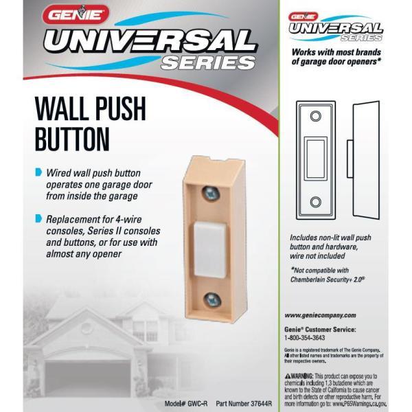 Genie Universal Garage Door Opener Interior Wall Push Button Gwc R The Home Depot
