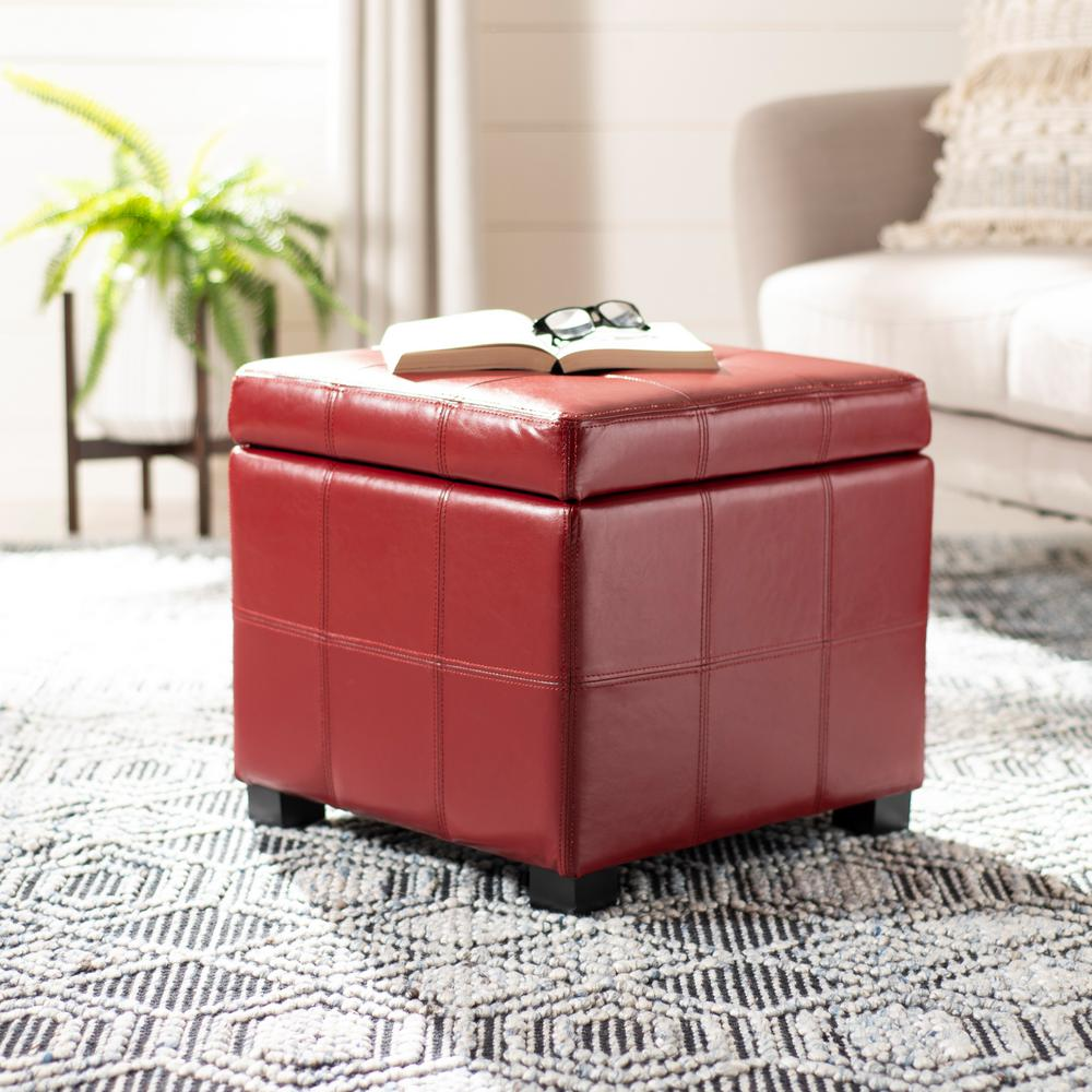Kerrie Red Storage Ottoman