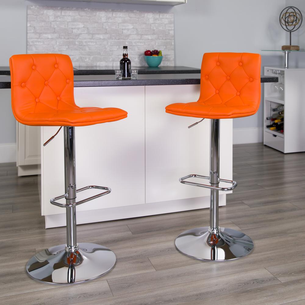 Flash Furniture 32.25 in. Adjustable Height Orange Cushioned Bar Stool