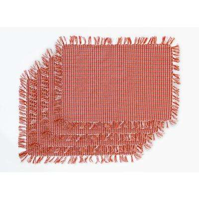 Homespun Fringed Red 100% Cotton Placemat (Set of 4)