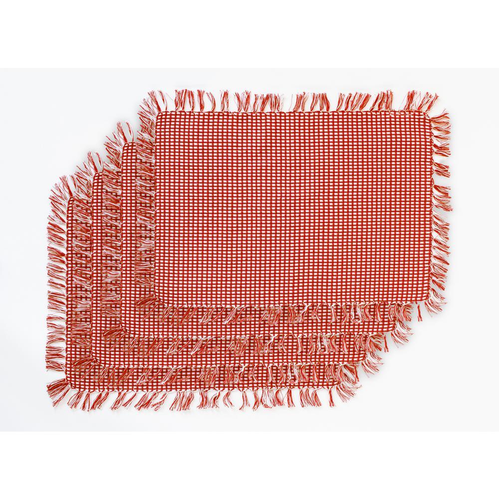 Homespun Fringed Red 100% Cotton Placemat (Set of 4)