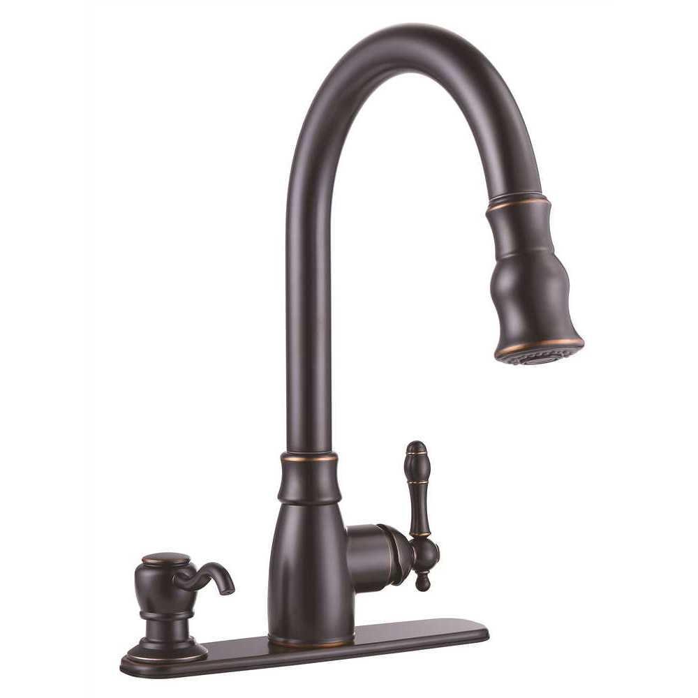 Sonoma Single-Handle Pull-Down Sprayer Kitchen Faucet with Soap Dispenser in Parisian Bronze