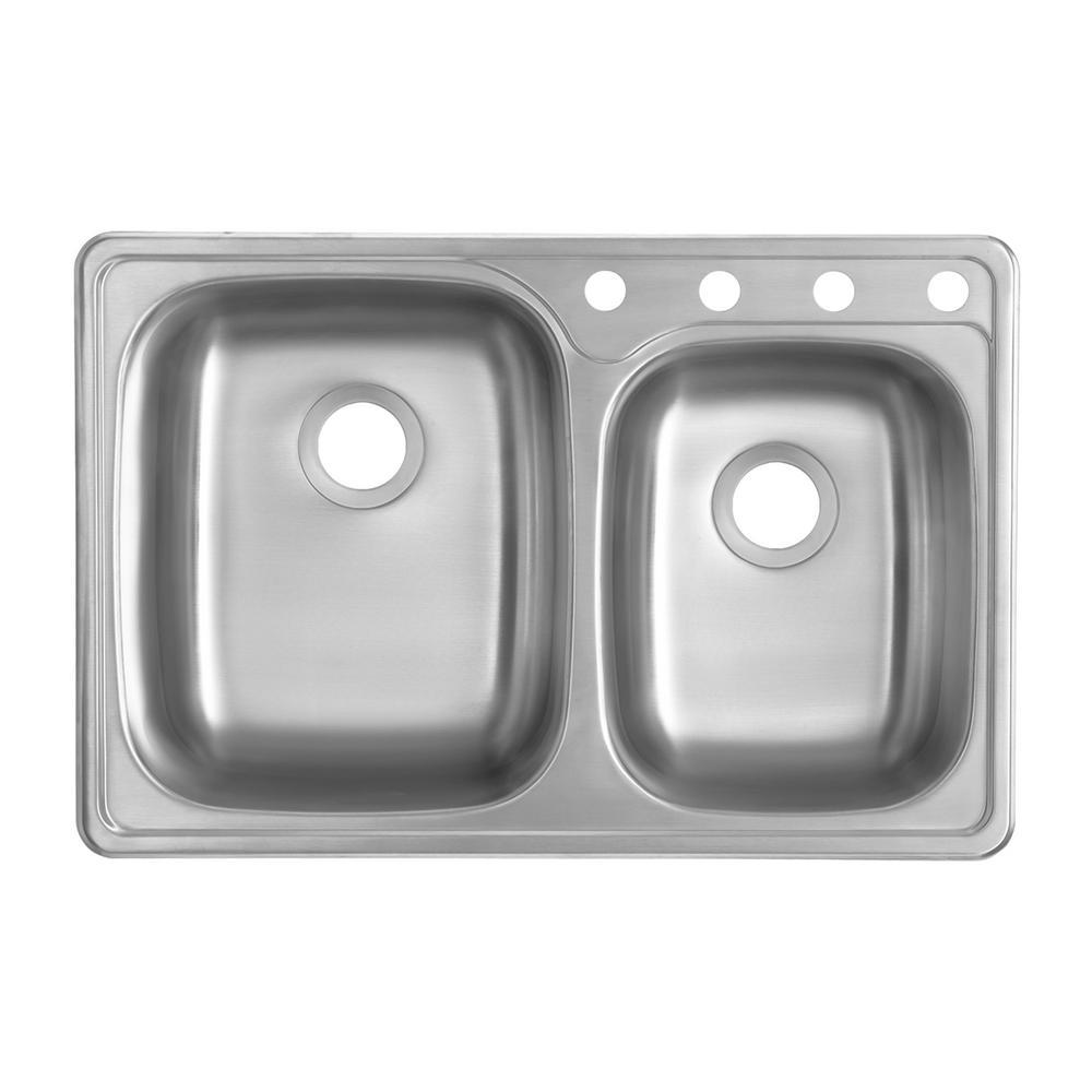 Glacier Bay Drop-In 20-Gauge Stainless Steel 33.25 in. 4-Hole 60/40 Double Bowl Kitchen Sink