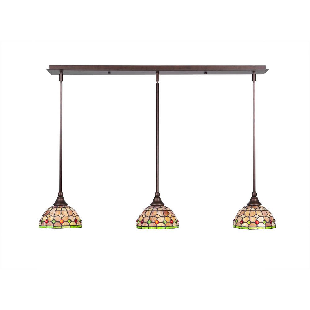 Cambridge 3-Light Bronze Island Pendant with Rosetta
