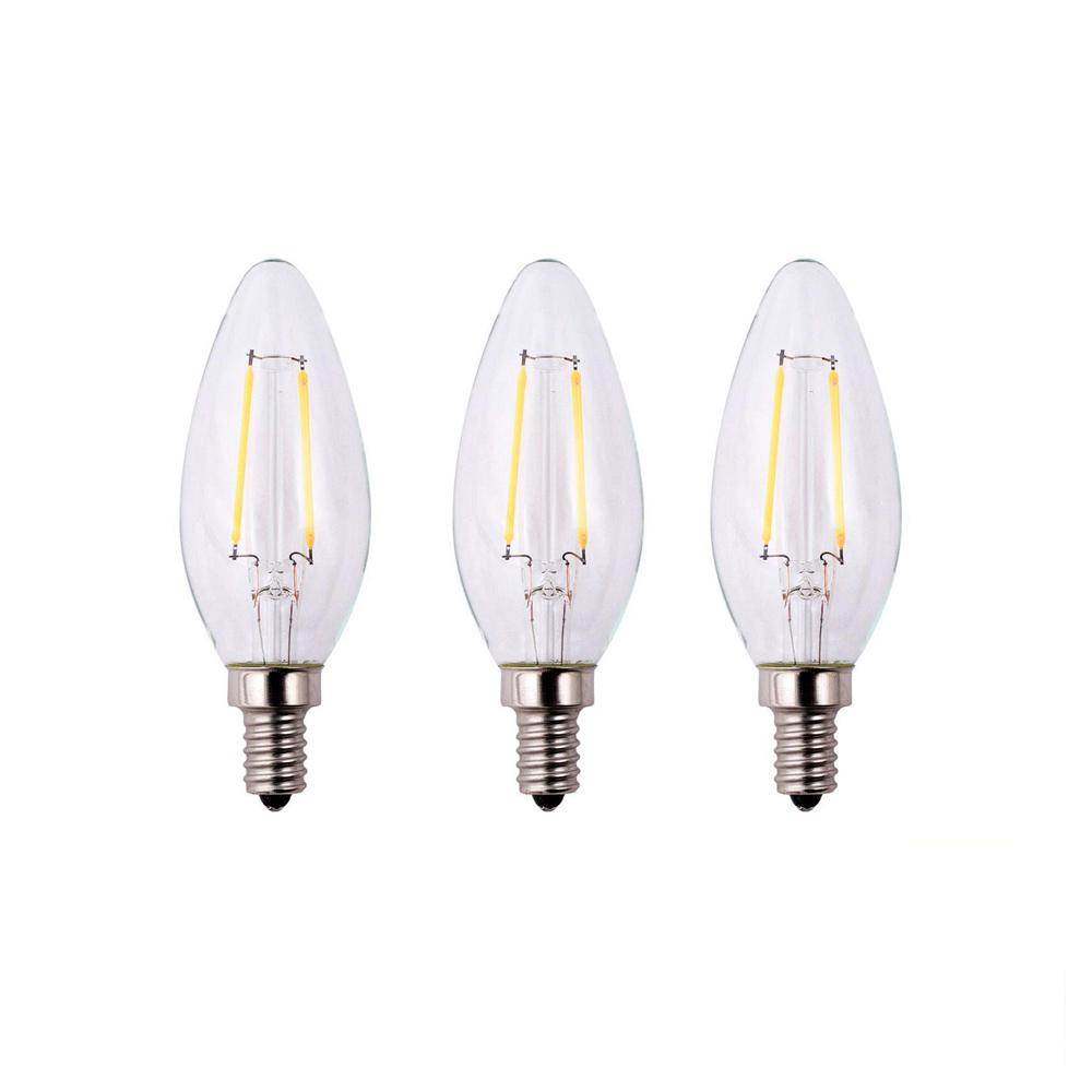 Ecosmart Led Bulbs Light The Home Depot Incandescent Bulb Diagram Shows 11 Parts 25 Watt Equivalent B11 Dimmable Energy Star Clear Filament Vintage Style