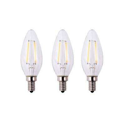 25-Watt Equivalent B11 E12 Base Dimmable Clear Filament Vintage Style LED Light Bulb, Daylight (3-Pack)