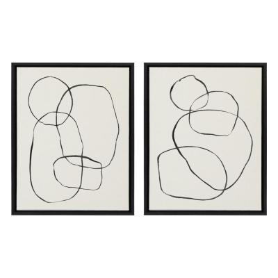 "Sylvie ""Modern Circles"" by Teju Reval of Snazzyhues Framed Canvas Wall Art Set 24 in. x 18 in."