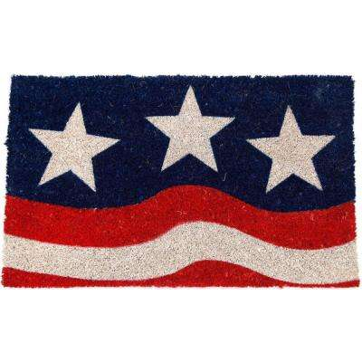 Stars and Stripes 17 in. x 28 in. Non Slip Coir Door Mat