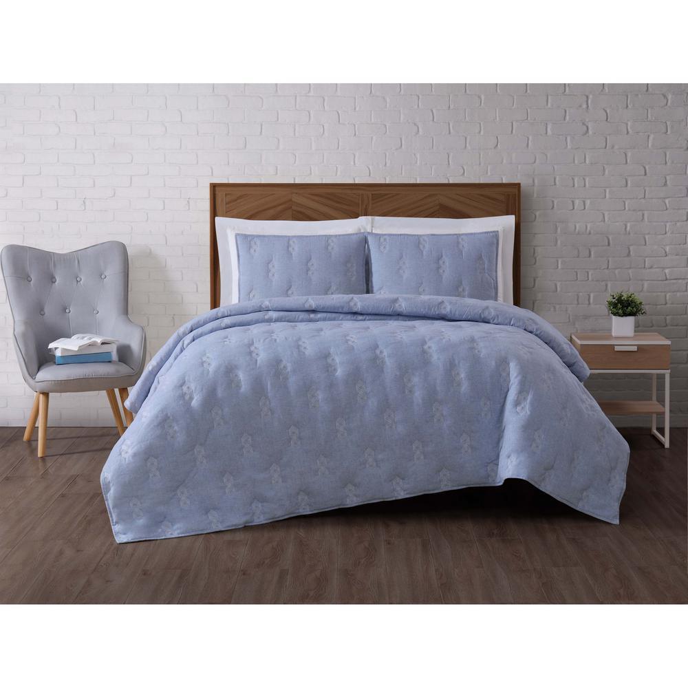 Tender 3-Piece Blue King Quilt Set