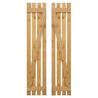 12 in. x 55 in. Baton Z Board and Batten Shutters Pair Natural-Cedar